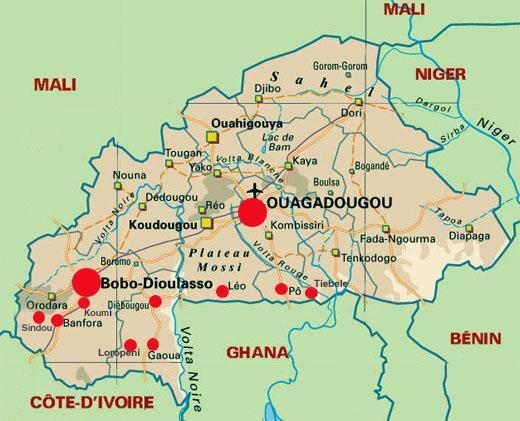 Carte Afrique Burkina Faso.Burkina Faso Carte